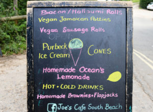 Menu blackboard for Joe's Cafe at South Beach, Studland