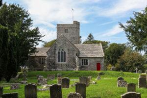 Gravestones in front of Steeple Church near Kimmeridge