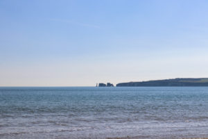 Old Harry Rocks and Wife across the sea at Studland Naturist Beach