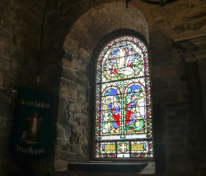Stained glass window of St Nicholas' church Studland