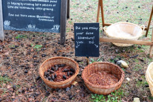 sand dune information board and baskets at the discovery centre Studland