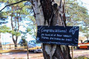 Peter rabbit trail sign at Studland's knoll beach