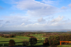 Looking over the green at Purbeck Golf Club