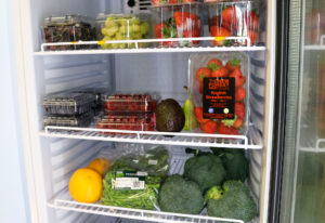 Studland Stores' fruit and veg in a fridge
