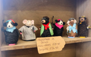 Felted animals for sale in Studland Stores