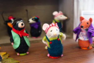 Mole and mouse felted souvenirs for sale at Studland Stores