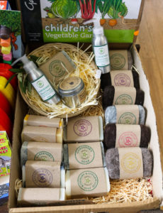 Tray of gardeners' soap in Studland shop