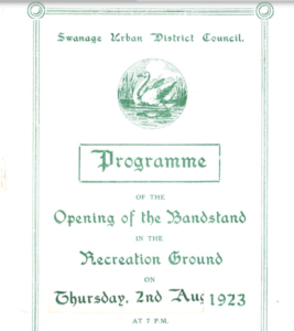 Programme for the opening of the Swanage Bandstand in 1923
