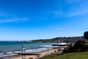 View of Swanage Bay and groynes from Spa Bungalow beach huts