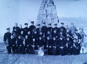 1938 photograph of Swanage Town Band by the war memorial