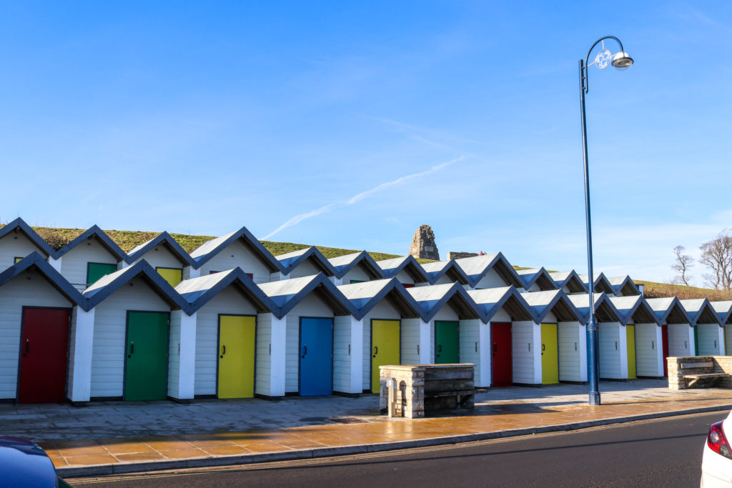 Beach huts on Shore Road in Swanage