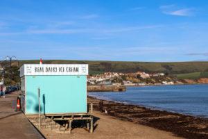 Swanage beach ice cream hut