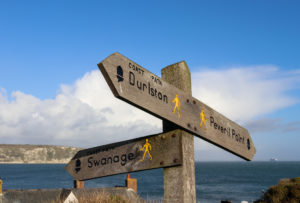 Walkers' signpost to Durlston, Swanage and Peveril Point