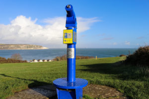 Talking Telescope on Swanage Downs with views toward Old Harry Rocks