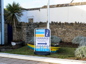 Sign outside Swanage information centre