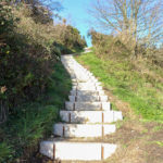 Stone steps leading to the obelisk in Swanage