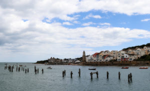 Wellington Clock Tower and old pier in Swanage