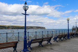 Benches and lights on Swanage Pier