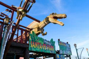 Santa fe fun park swanage dinosaur at entrance