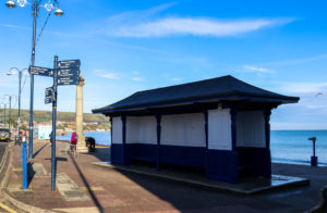 seating area on the prom in Swanage