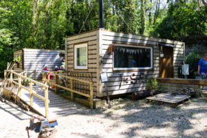 View of the Shed at Durlston's volunteering area in the woods
