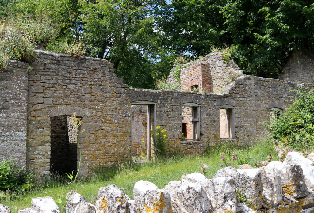 Ruined house in Tyneham village