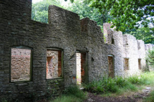 Abandoned cottages in lost village of Tyneham
