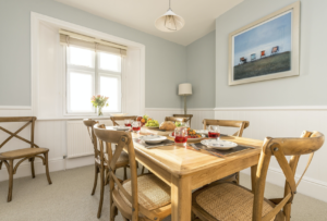Table set for breakfast, Veronica Cottage, Anvil Point, Durlston