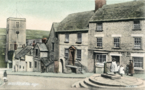 Archive drawing of children at the old Swanage village pump