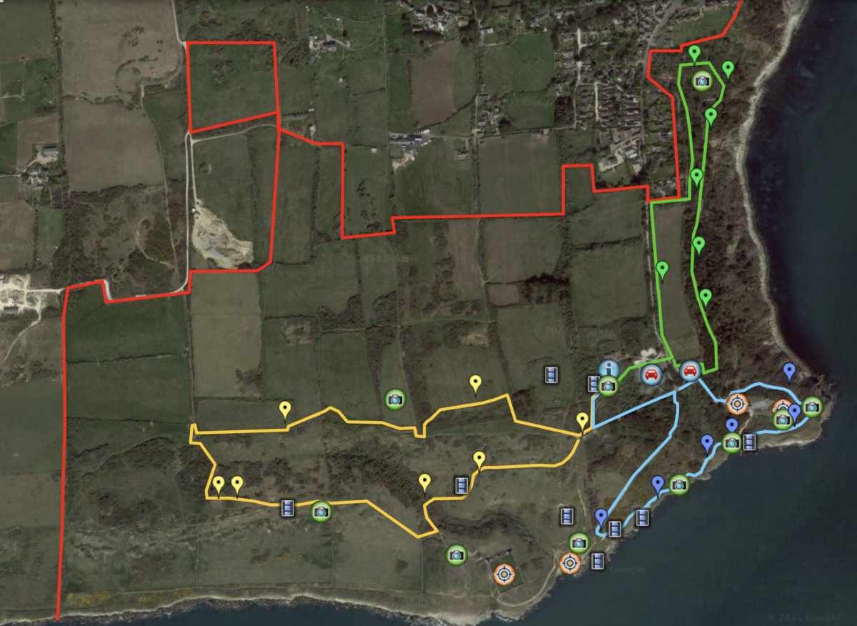 Google Maps showing three different walking routes and points of interest around Durlston Country Park