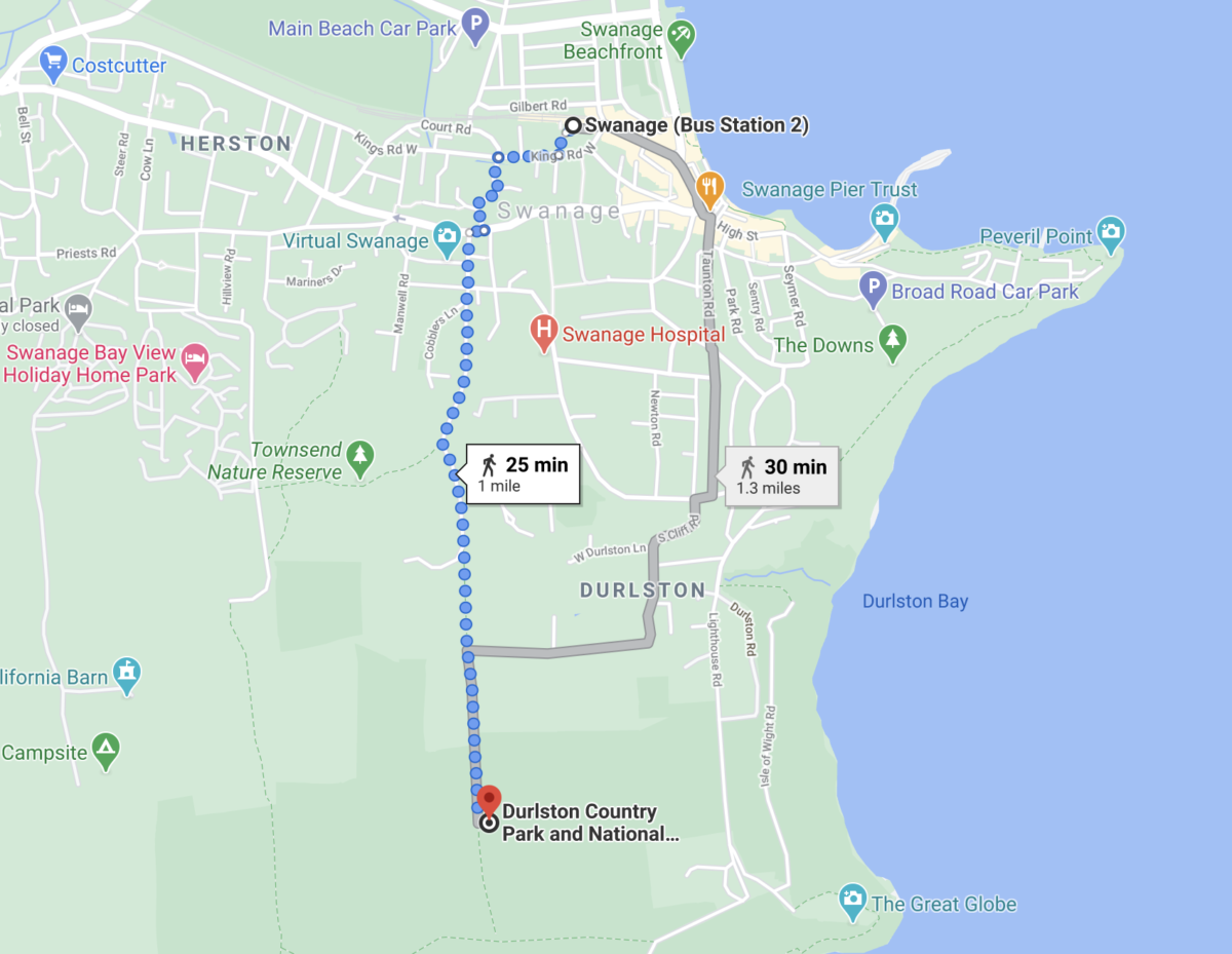 Google Maps showing two alternative walking routes from Swanage Station to Durlston Country Park
