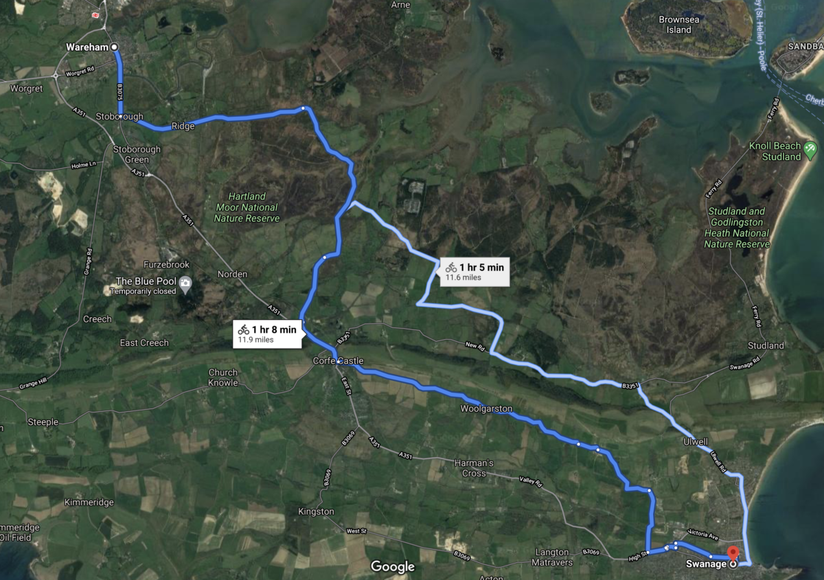 Google maps showing two alternate cycling routes from Wareham to Swanage