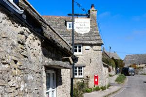 Tea room and post box in Worth Matravers village