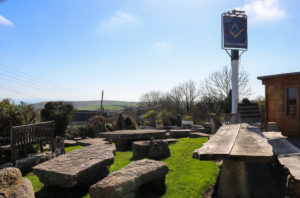 Stone seating in the beer garden of the Square and Compass in Worth Matravers