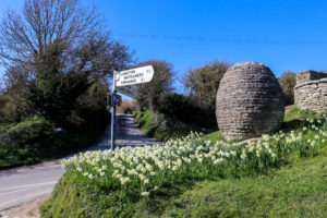 Purbeck stone egg sculpture in the village of Worth Matravers