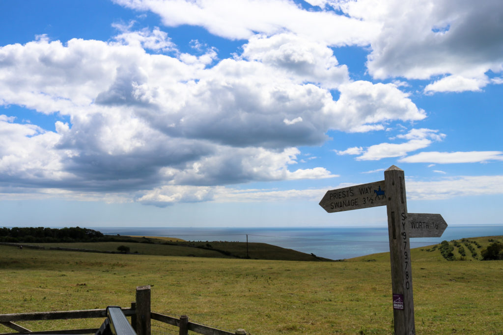Sign to Priest's Way and Swanage in Worth Matravers