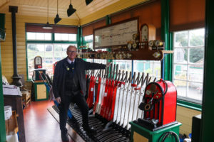 Corfe Castle station signalman volunteer