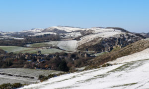 Corfe from Purbeck Hills in the snow