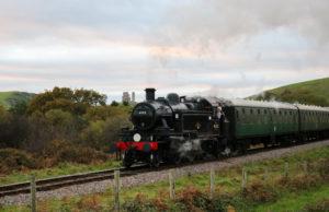 steam train by Corfe Castle