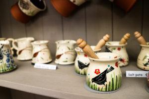 Ceramic salt pot with bird at the Purbeck Artisan Yard in Wareham