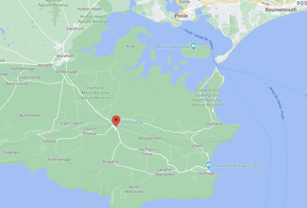 Screenshot Google maps showing where Corfe Castle is located
