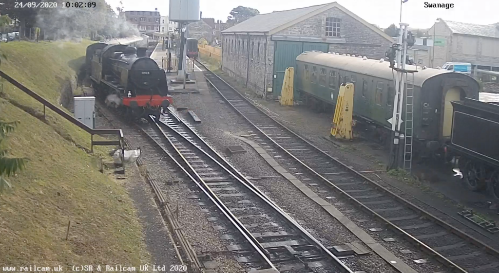 Screenshot of Swanage Railway webcam with steam train reversing