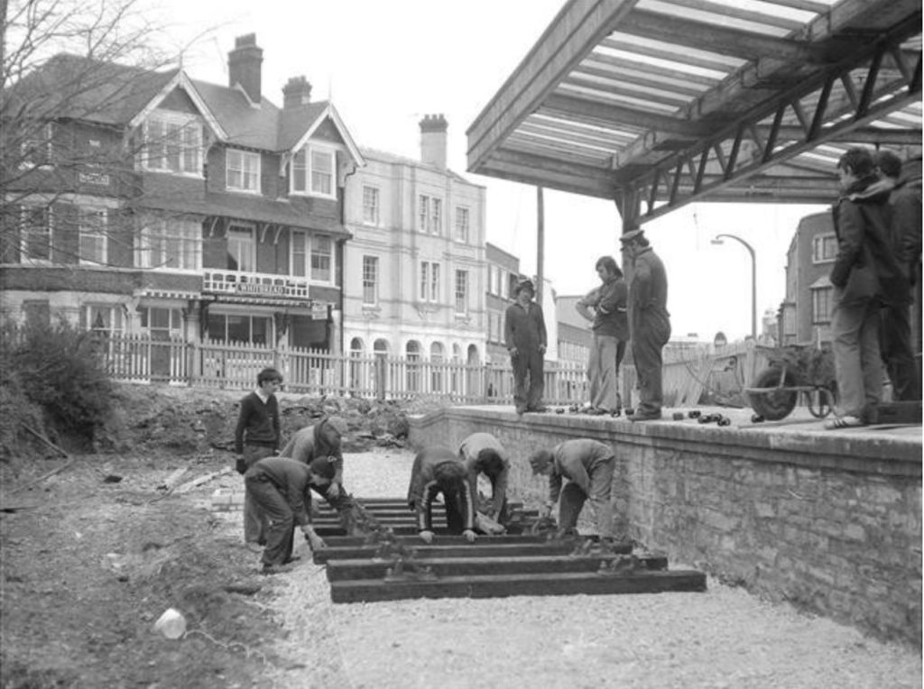 Laying the tracks at Swanage Station