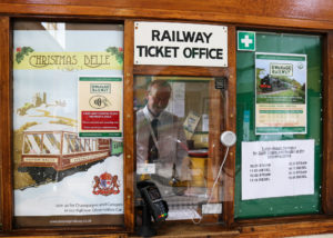 Ticket man at Swanage railway ticket office
