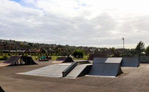 Skateboarding ramps in Swanage park