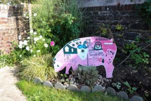 Pig-shaped info board at Wareham Pound