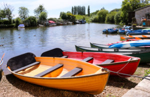 Boats moored on the River Frome