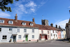 Row of pastel coloured houses in Wareham