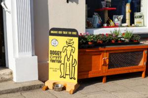 Dog treat sign outside Wareham pet shop