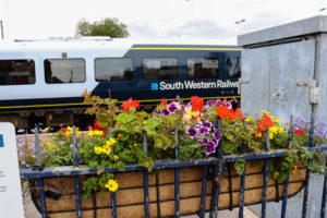 South Western Railway train pulling in to Wareham Station